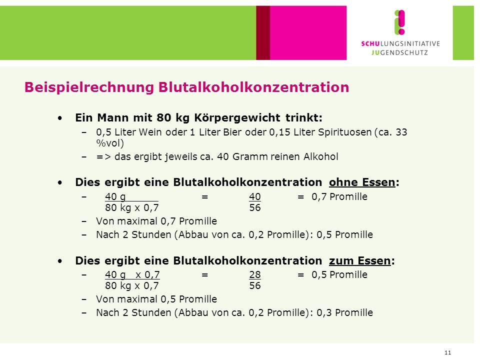Beispielrechnung Blutalkoholkonzentration