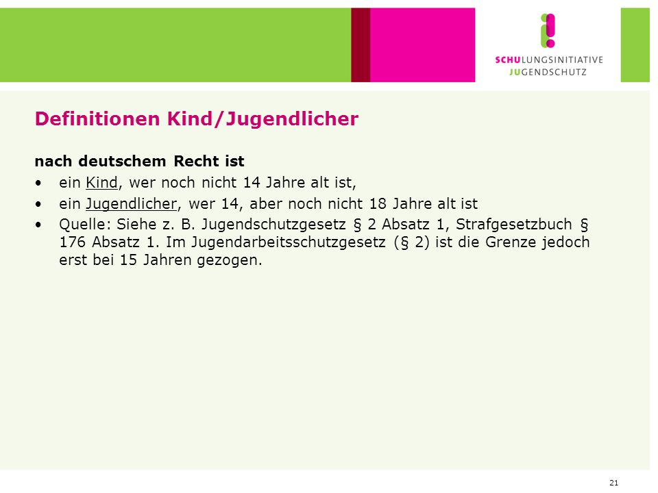 Definitionen Kind/Jugendlicher
