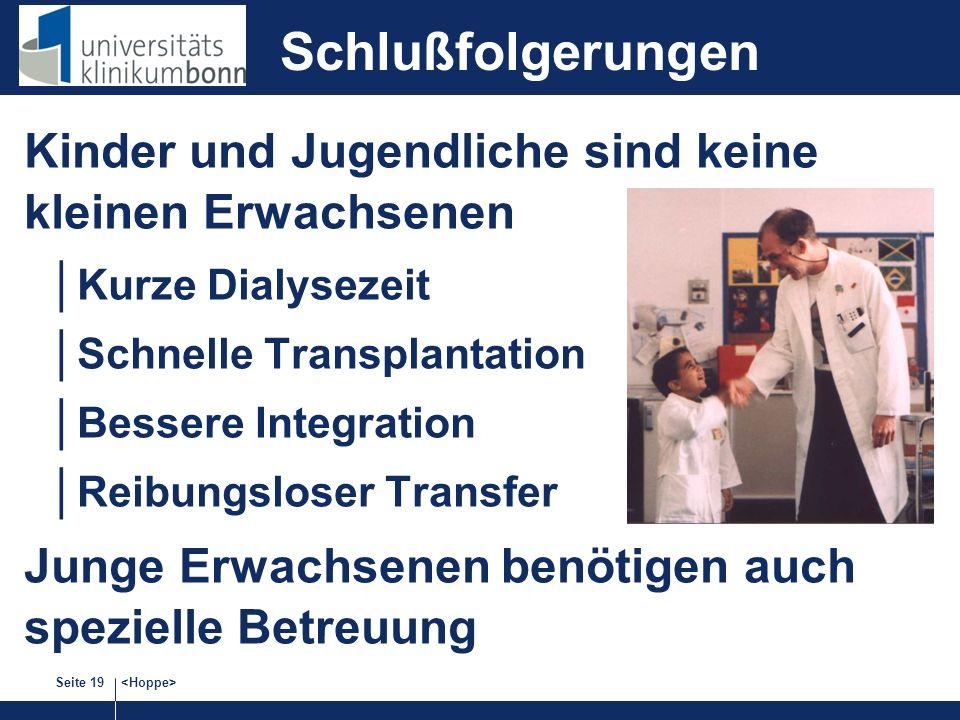 Schlußfolgerungen Kinder und Jugendliche sind keine kleinen Erwachsenen. Kurze Dialysezeit. Schnelle Transplantation.
