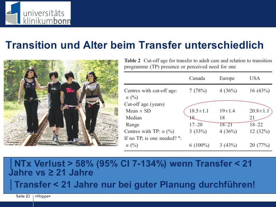 Transition und Alter beim Transfer unterschiedlich