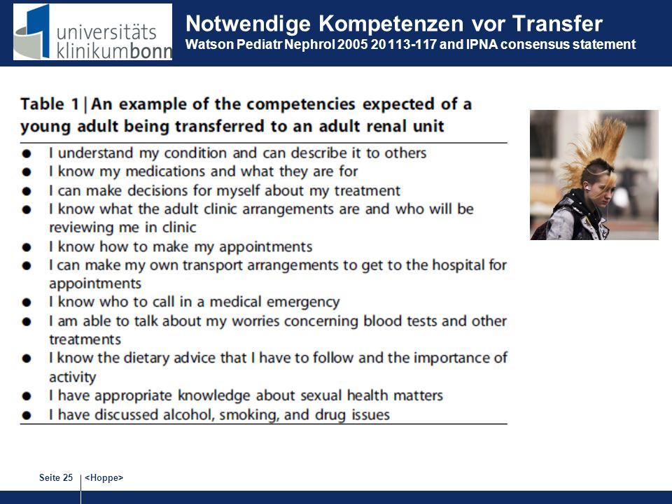 Notwendige Kompetenzen vor Transfer Watson Pediatr Nephrol and IPNA consensus statement
