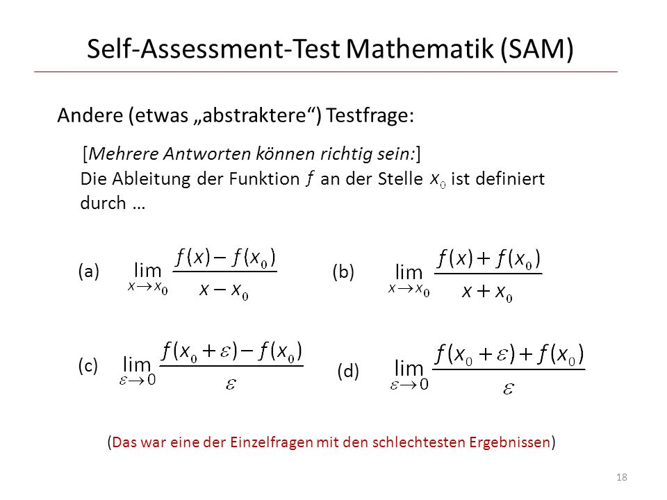 Self-Assessment-Test Mathematik (SAM)