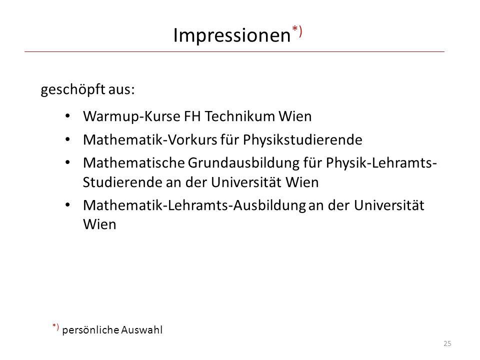 Impressionen*) geschöpft aus: Warmup-Kurse FH Technikum Wien