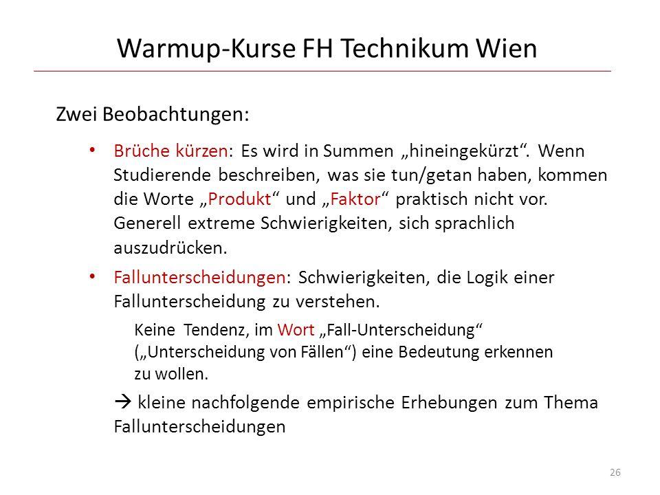Warmup-Kurse FH Technikum Wien