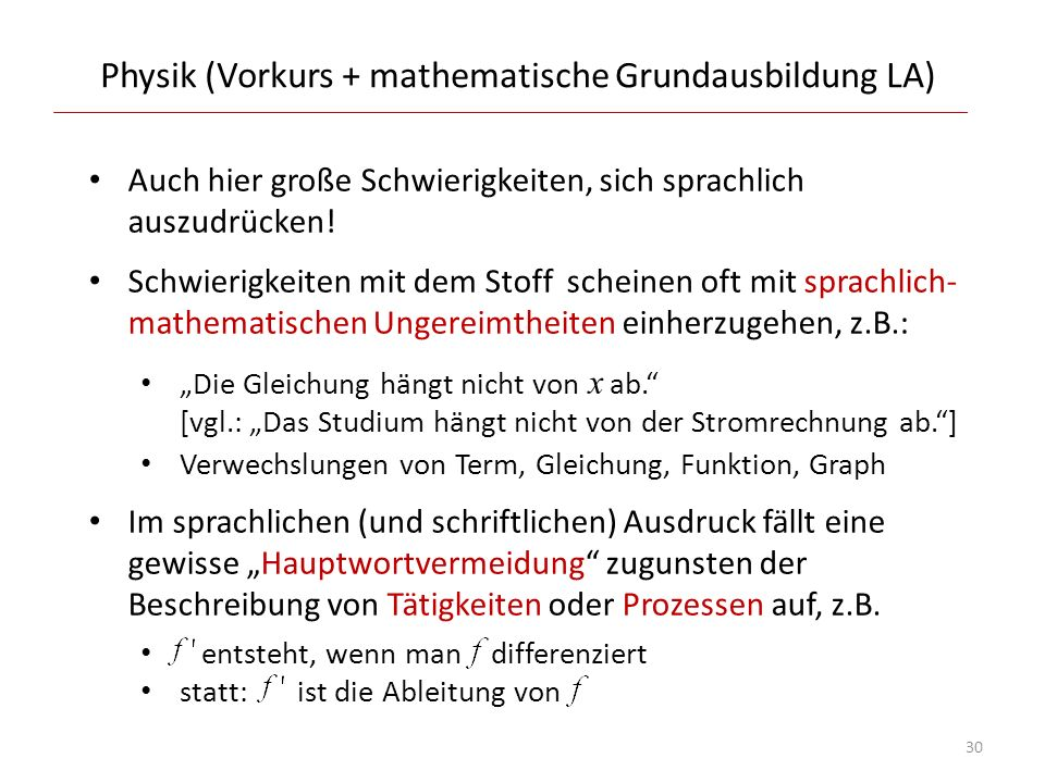 Physik (Vorkurs + mathematische Grundausbildung LA)