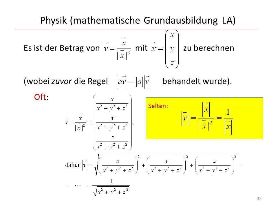Physik (mathematische Grundausbildung LA)