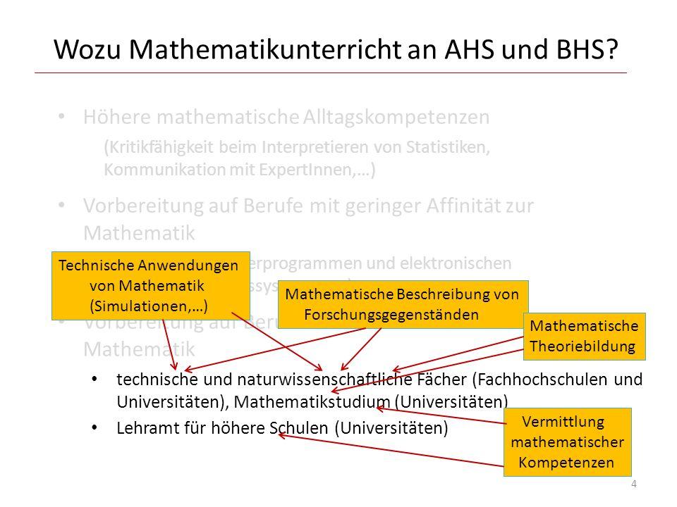 Wozu Mathematikunterricht an AHS und BHS