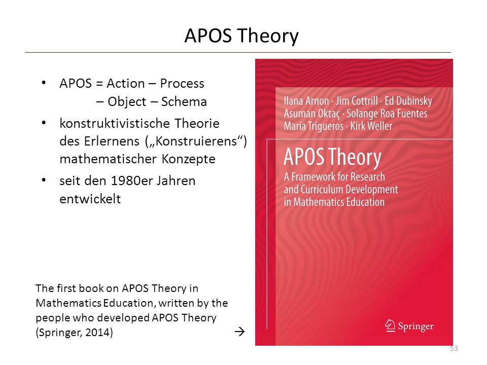 APOS Theory APOS = Action – Process – Object – Schema