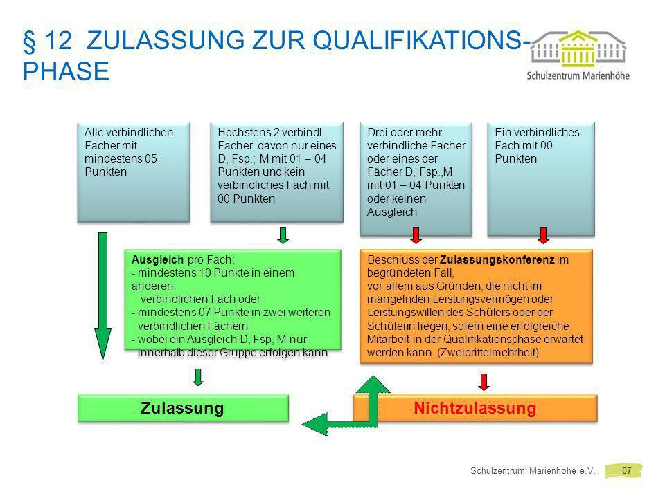 § 12 Zulassung zur Qualifikations-phase