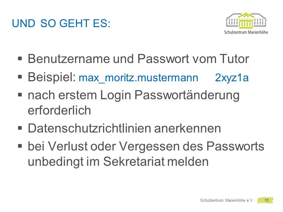 Benutzername und Passwort vom Tutor