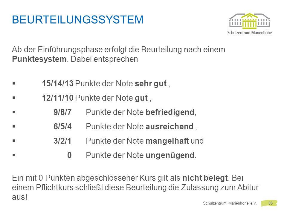 Beurteilungssystem Ab der Einführungsphase erfolgt die Beurteilung nach einem Punktesystem. Dabei entsprechen.