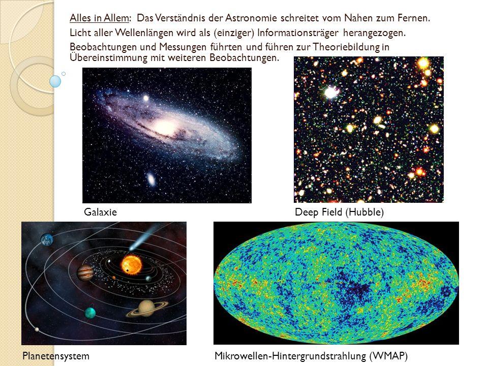 Alles in Allem: Das Verständnis der Astronomie schreitet vom Nahen zum Fernen.