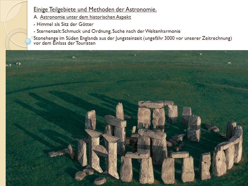 Einige Teilgebiete und Methoden der Astronomie.