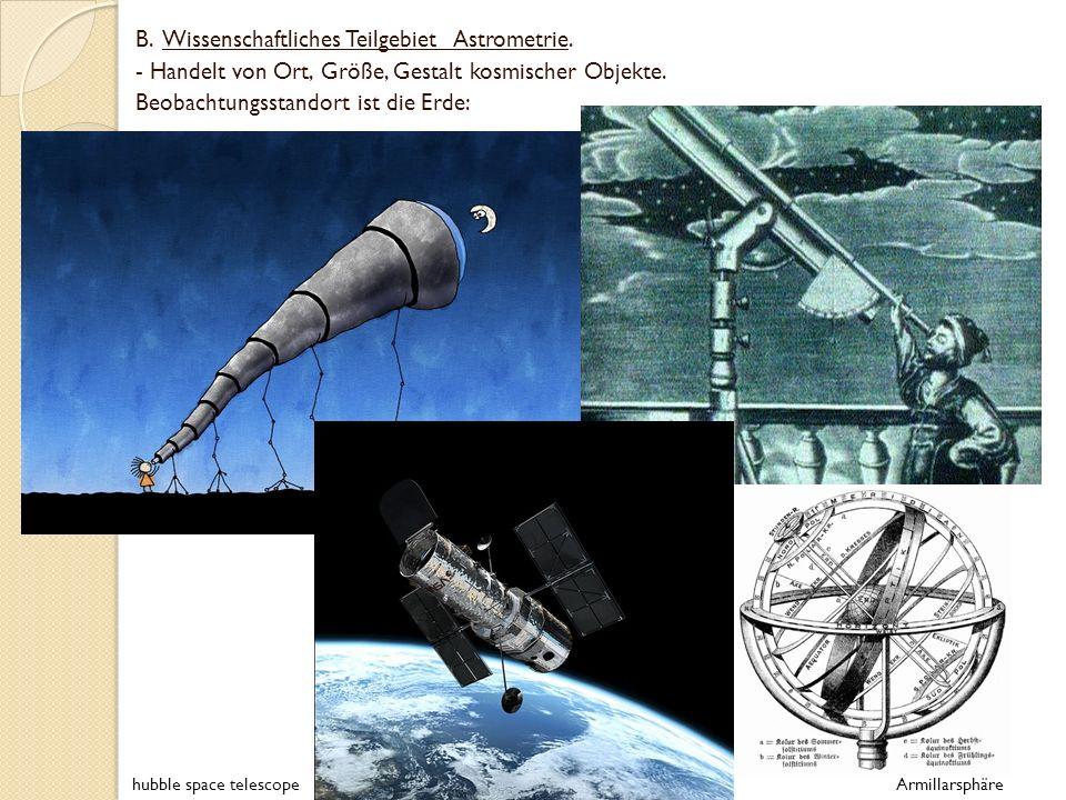 B. Wissenschaftliches Teilgebiet Astrometrie.