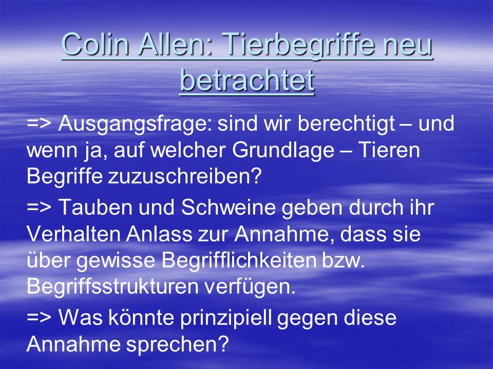 Colin Allen: Tierbegriffe neu betrachtet