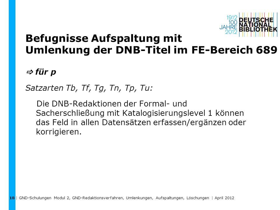 Befugnisse Aufspaltung mit Umlenkung der DNB-Titel im FE-Bereich 689