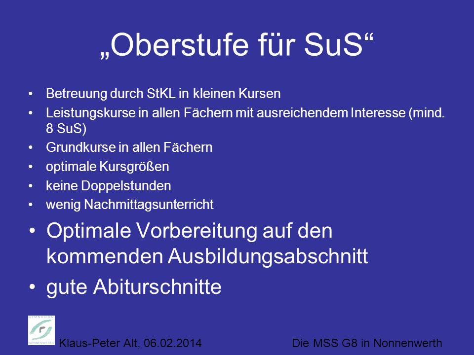 """""""Oberstufe für SuS Betreuung durch StKL in kleinen Kursen. Leistungskurse in allen Fächern mit ausreichendem Interesse (mind. 8 SuS)"""