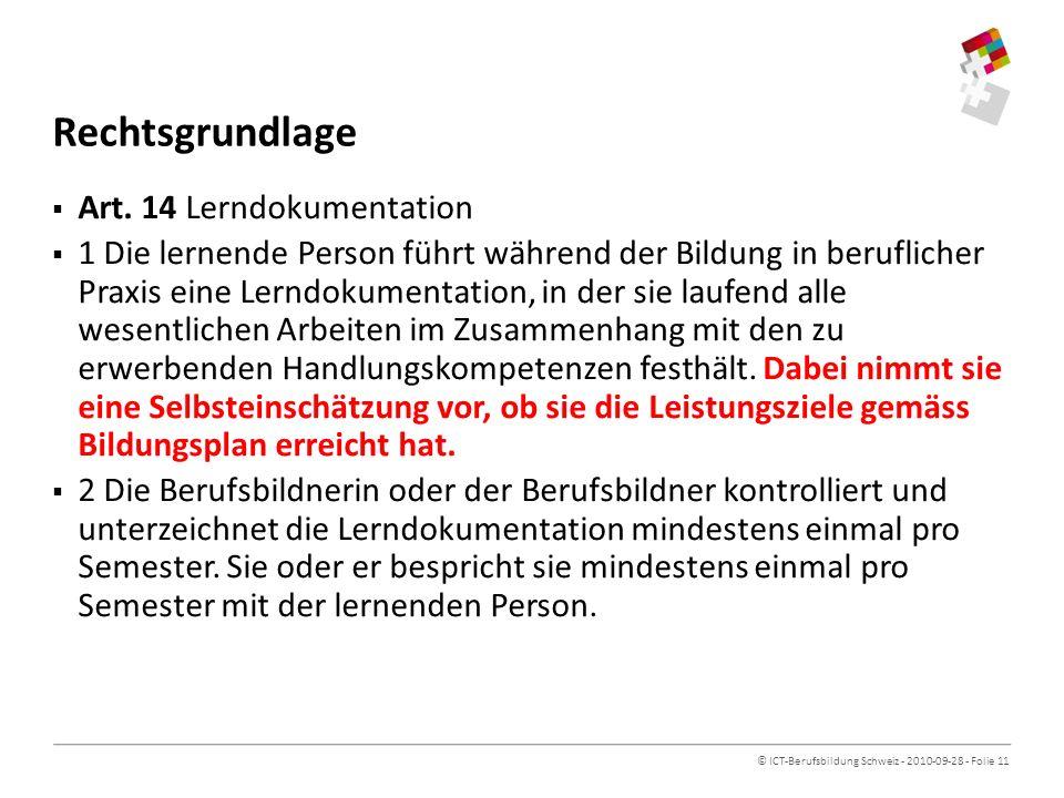 Rechtsgrundlage Art. 14 Lerndokumentation