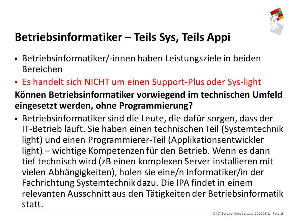 Betriebsinformatiker – Teils Sys, Teils Appi