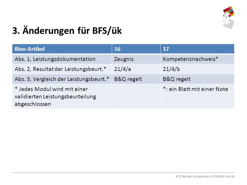 3. Änderungen für BFS/ük Bivo-Artikel 16 17