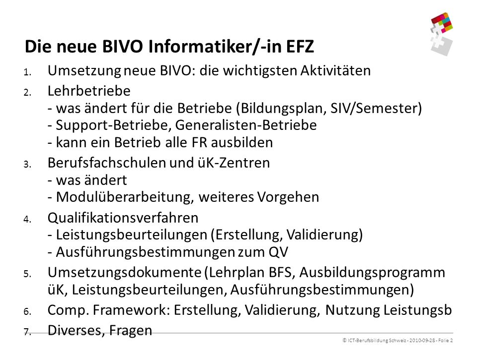 Die neue BIVO Informatiker/-in EFZ