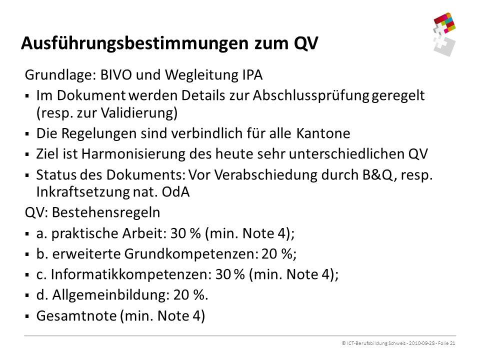 Ausführungsbestimmungen zum QV