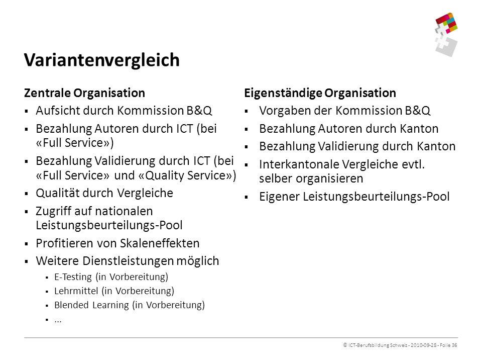Variantenvergleich Zentrale Organisation Aufsicht durch Kommission B&Q