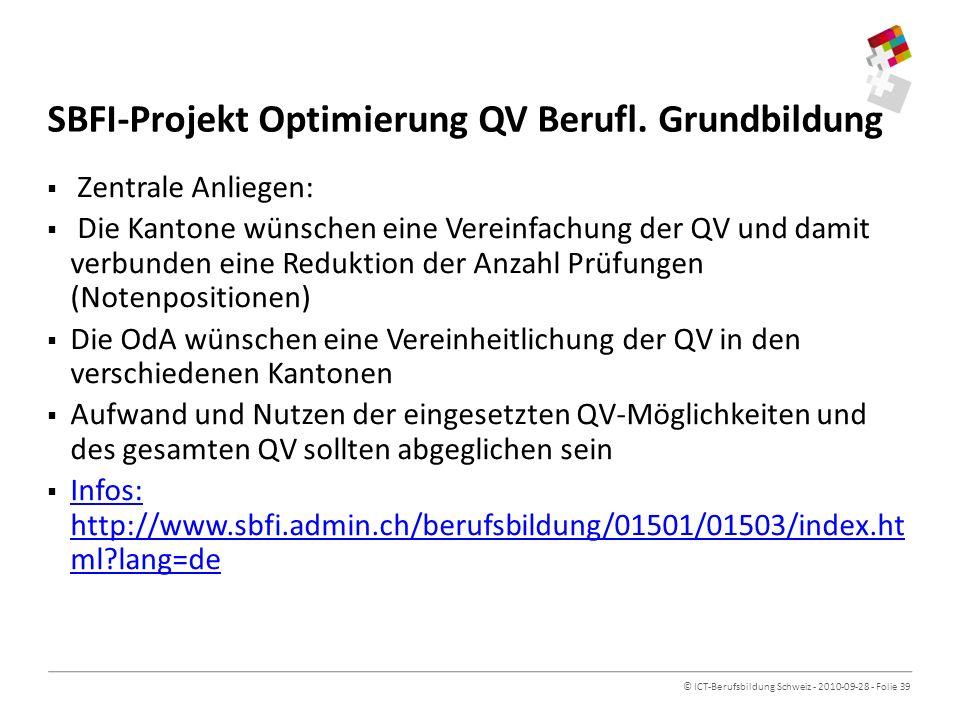 SBFI-Projekt Optimierung QV Berufl. Grundbildung