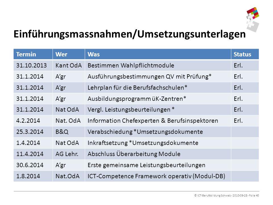 Einführungsmassnahmen/Umsetzungsunterlagen