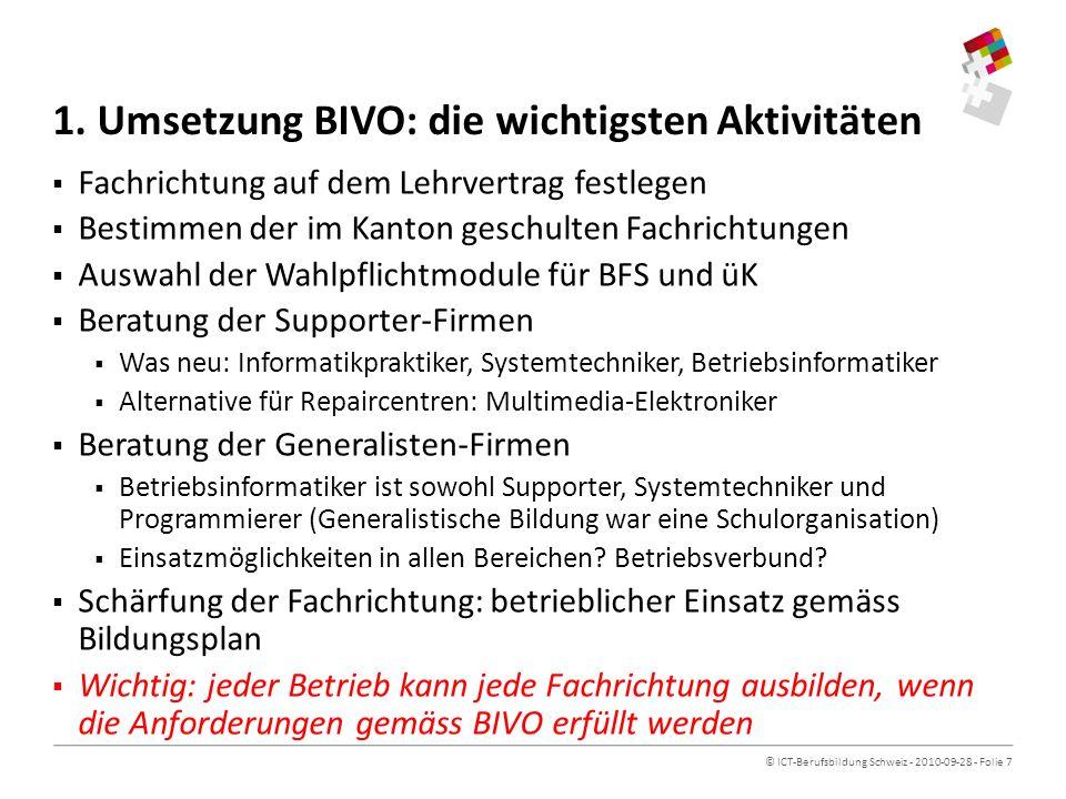 1. Umsetzung BIVO: die wichtigsten Aktivitäten