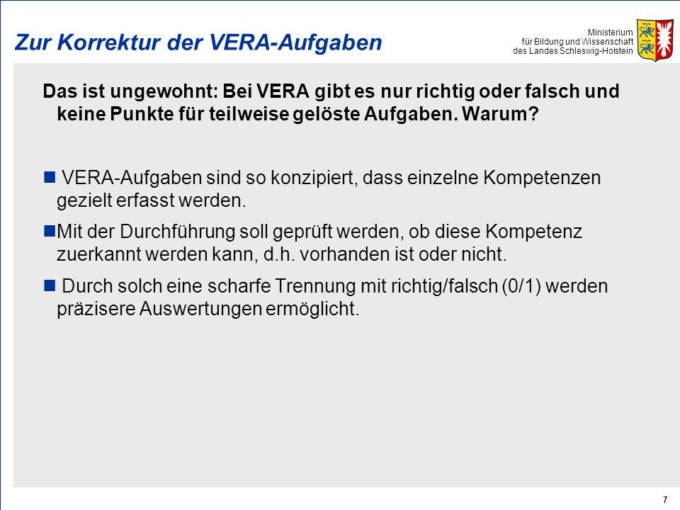 Zur Korrektur der VERA-Aufgaben