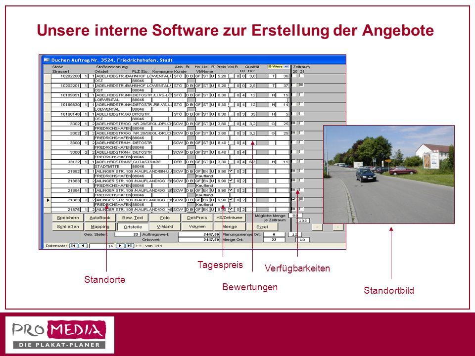 Unsere interne Software zur Erstellung der Angebote