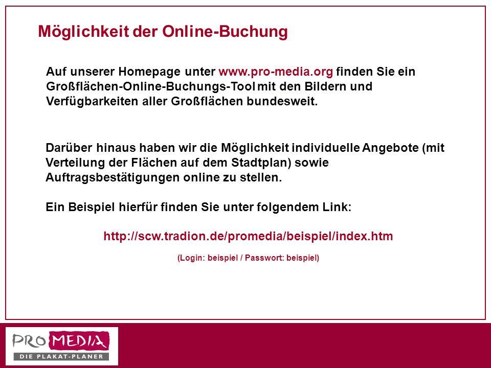 Möglichkeit der Online-Buchung