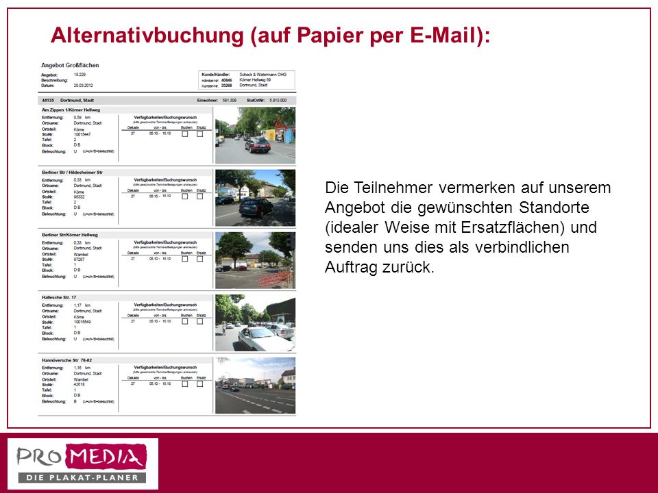 Alternativbuchung (auf Papier per E-Mail):