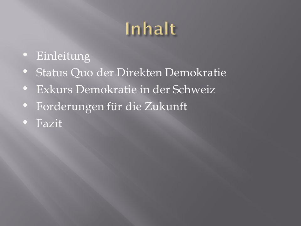 Inhalt Einleitung Status Quo der Direkten Demokratie