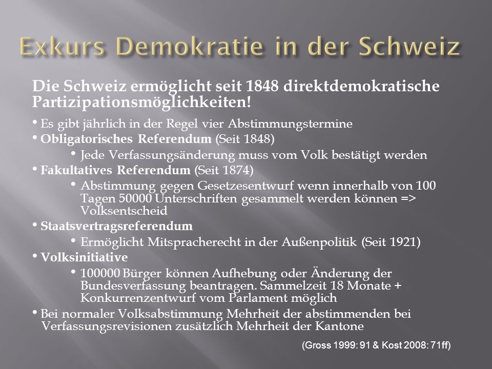 Exkurs Demokratie in der Schweiz