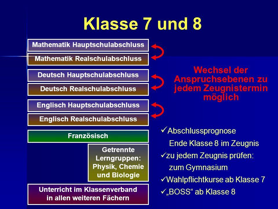 Klasse 7 und 8 Mathematik Hauptschulabschluss. Mathematik Realschulabschluss. Wechsel der Anspruchsebenen zu jedem Zeugnistermin möglich.
