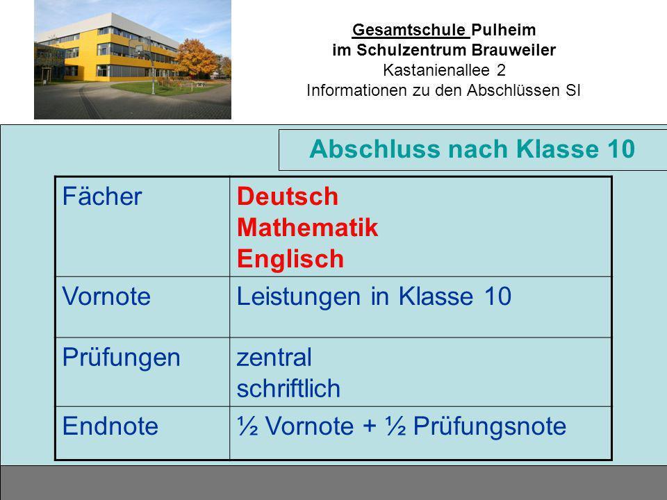 Abschluss nach Klasse 10 Fächer. Deutsch Mathematik Englisch. Vornote. Leistungen in Klasse 10. Prüfungen.