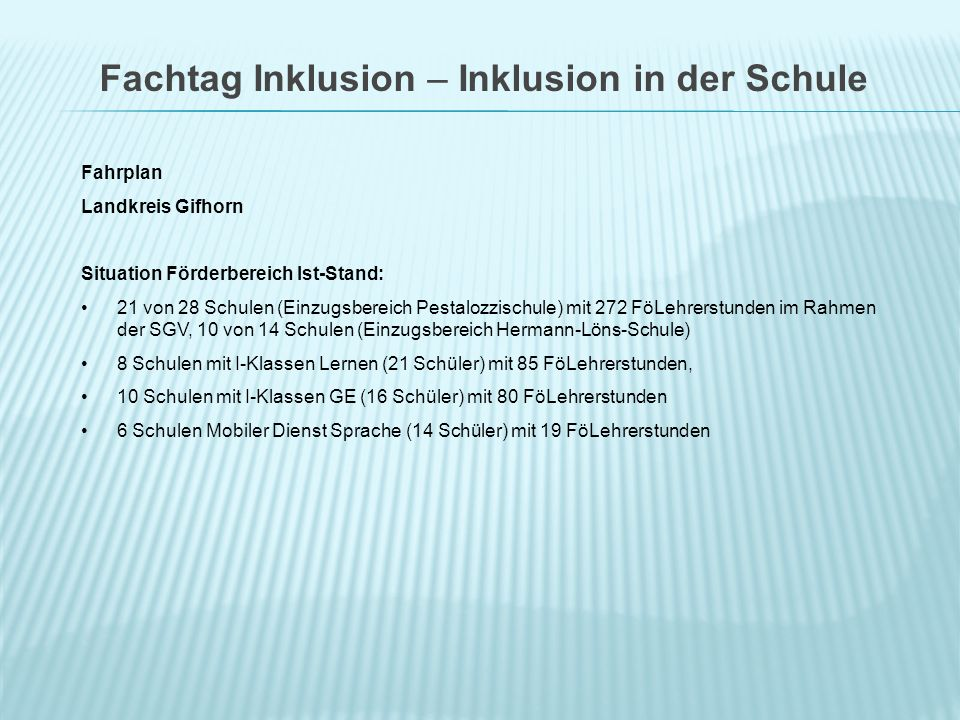 Fachtag Inklusion – Inklusion in der Schule