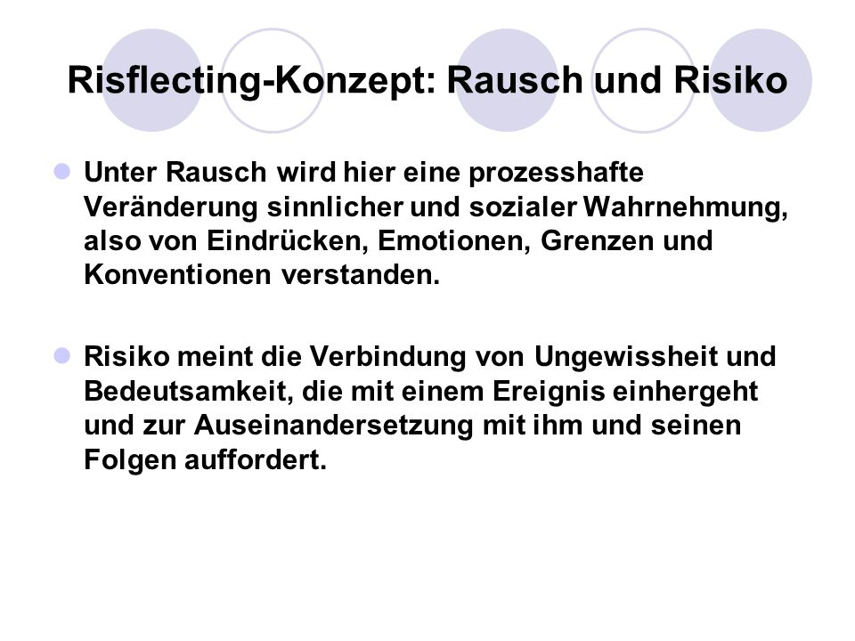 Risflecting-Konzept: Rausch und Risiko