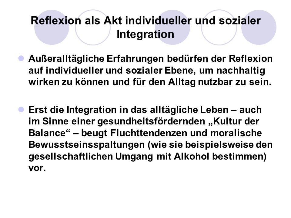 Reflexion als Akt individueller und sozialer Integration