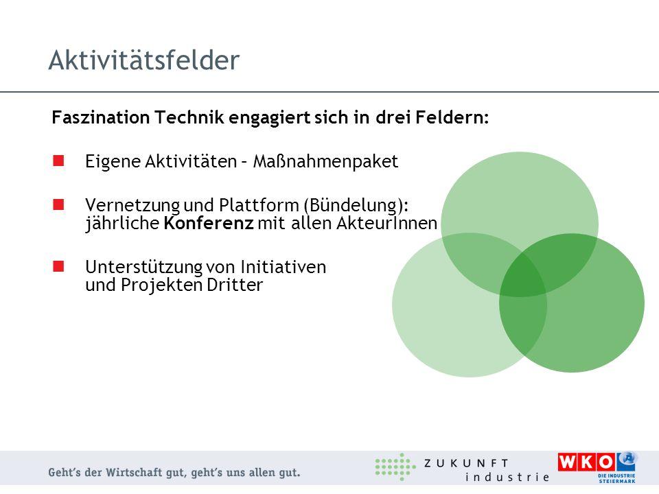 Aktivitätsfelder Faszination Technik engagiert sich in drei Feldern: