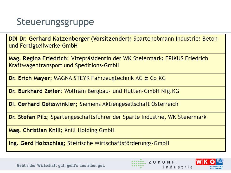 Steuerungsgruppe DDI Dr. Gerhard Katzenberger (Vorsitzender); Spartenobmann Industrie; Beton- und Fertigteilwerke-GmbH.