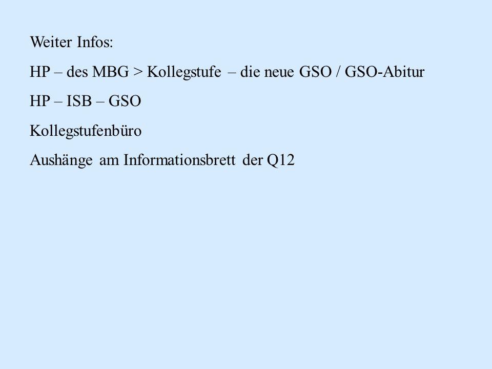 Weiter Infos: HP – des MBG > Kollegstufe – die neue GSO / GSO-Abitur. HP – ISB – GSO. Kollegstufenbüro.