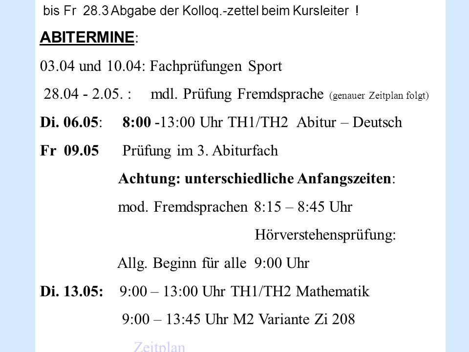 03.04 und 10.04: Fachprüfungen Sport