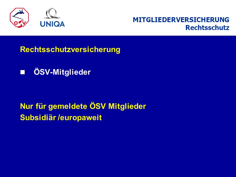 MITGLIEDERVERSICHERUNG Rechtsschutz