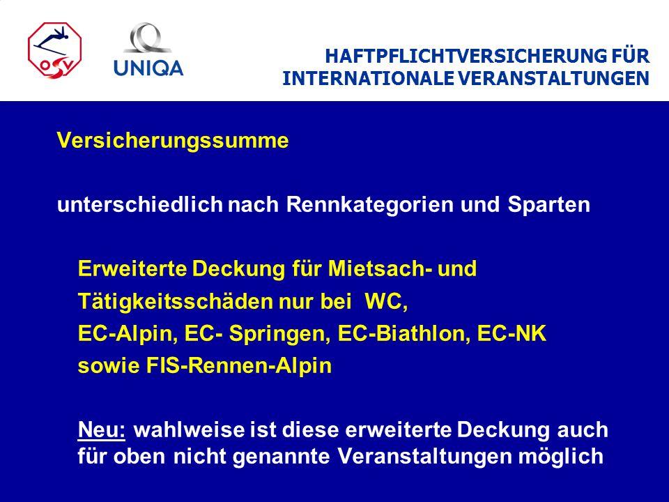 HAFTPFLICHTVERSICHERUNG FÜR INTERNATIONALE VERANSTALTUNGEN