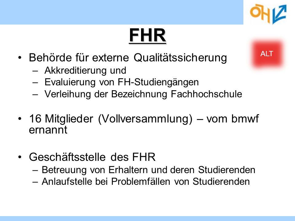 FHR Behörde für externe Qualitätssicherung