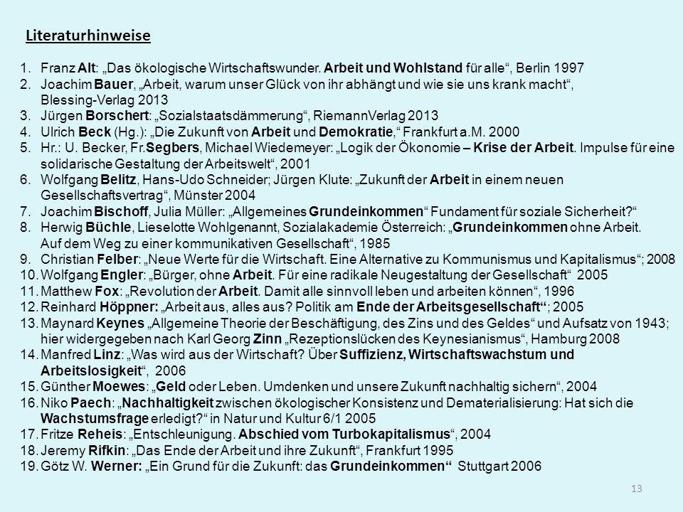 """Literaturhinweise Franz Alt: """"Das ökologische Wirtschaftswunder. Arbeit und Wohlstand für alle , Berlin 1997."""