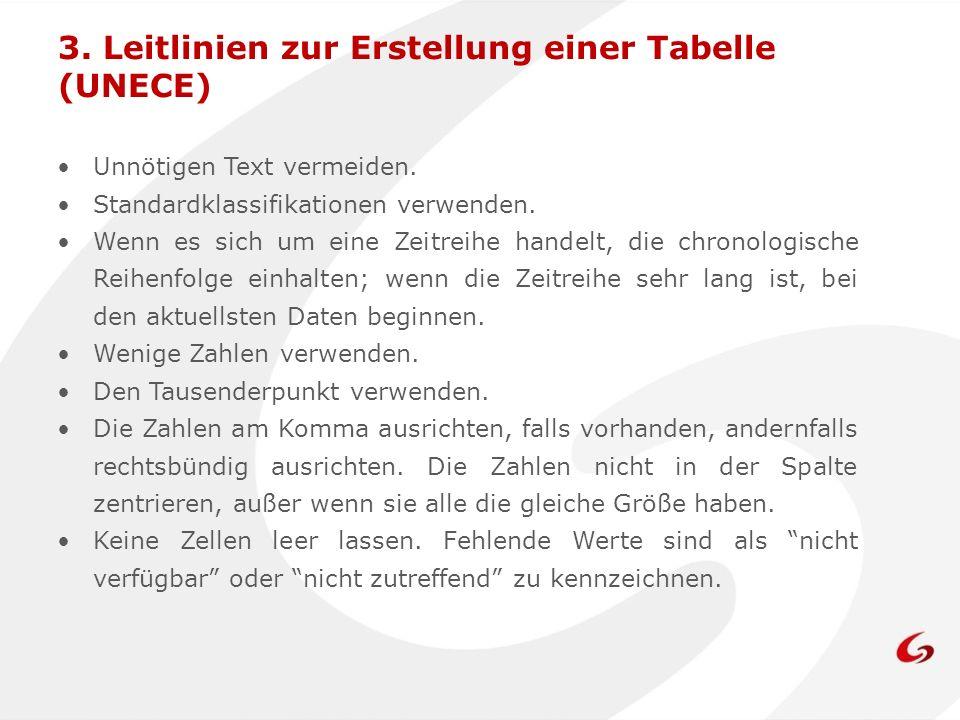 3. Leitlinien zur Erstellung einer Tabelle (UNECE)